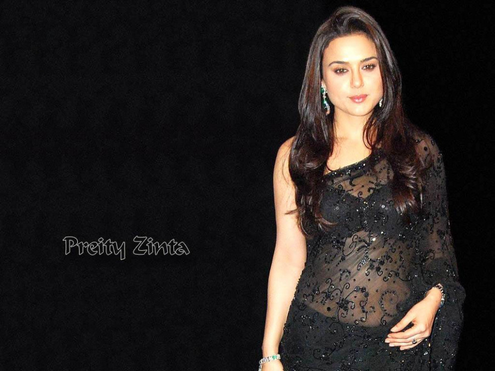 Actress Preity Zinta in Black Saree Photos | Actress Saree ...