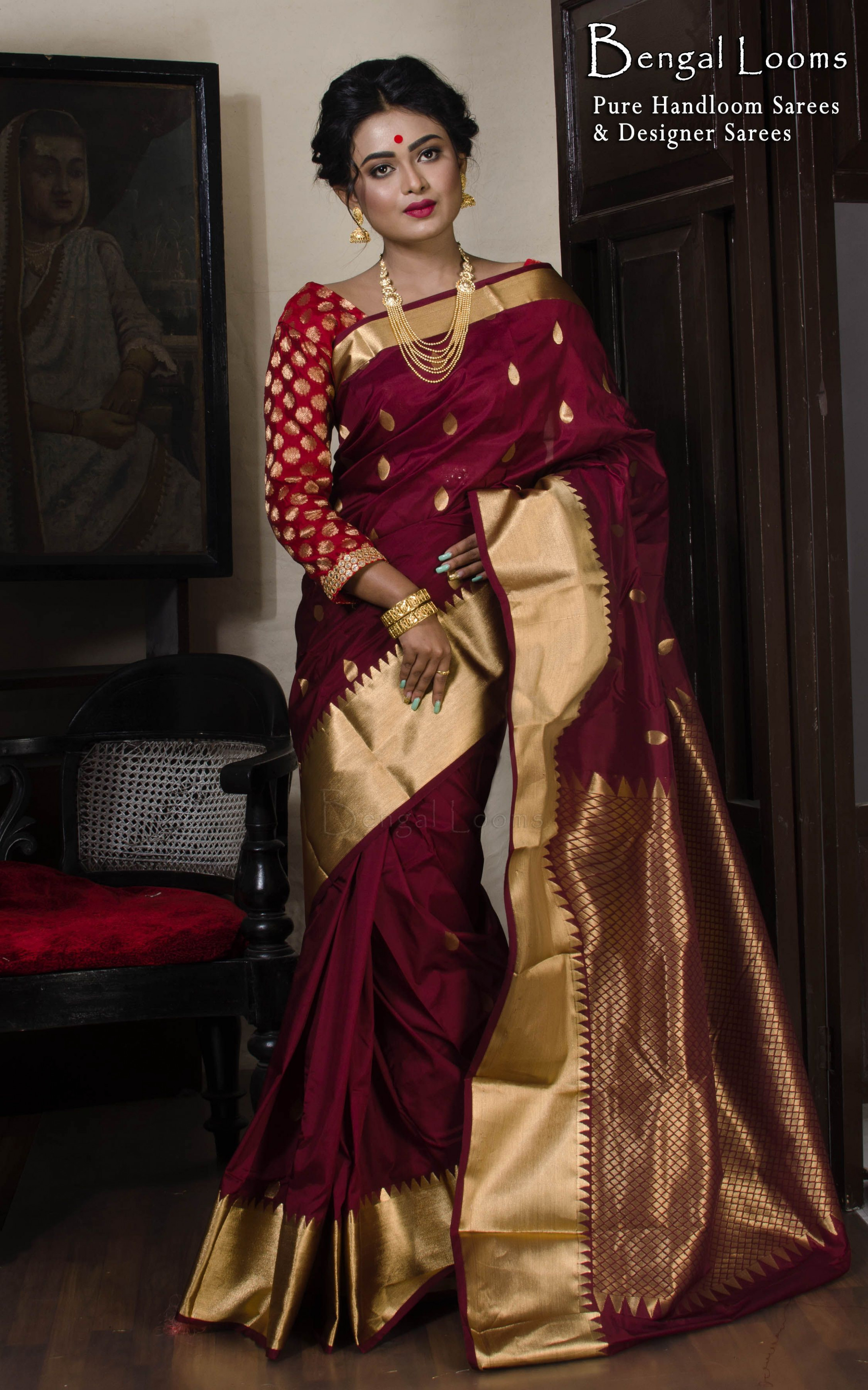 Art Silk Kanjivaram Saree in Maroon and Gold | Kanchipuram ...