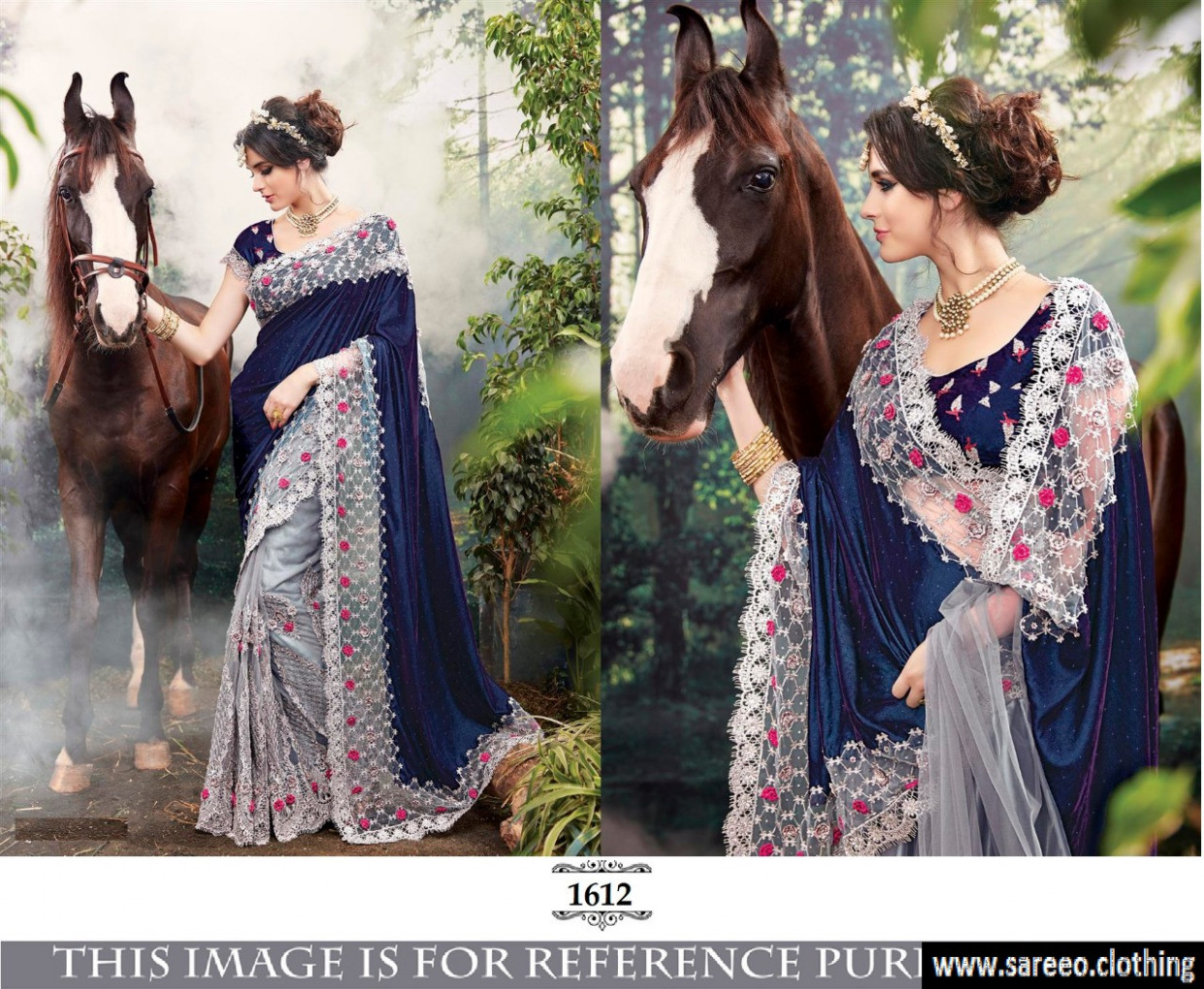 Awesome Navyblue And Grey Bollywood Designer Saree With ...