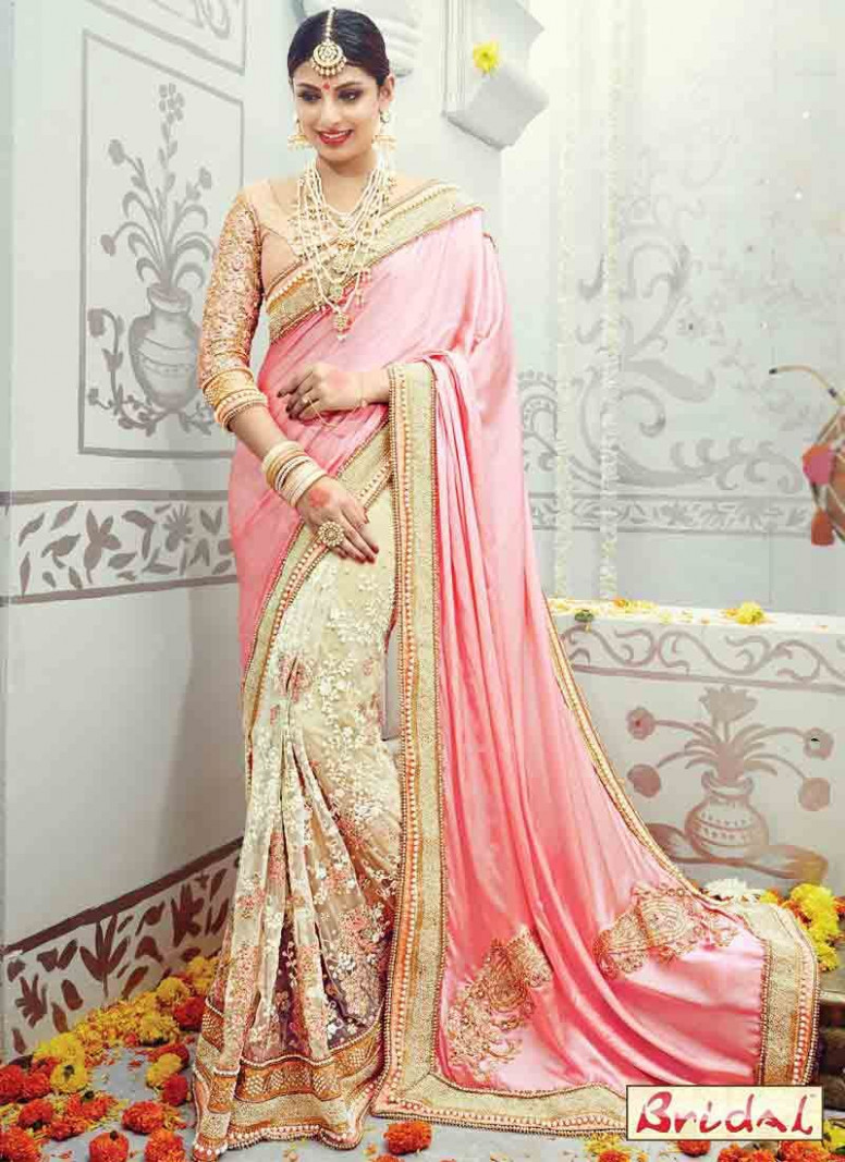 beautiful pink Indian bridal wedding and party wear saree ...
