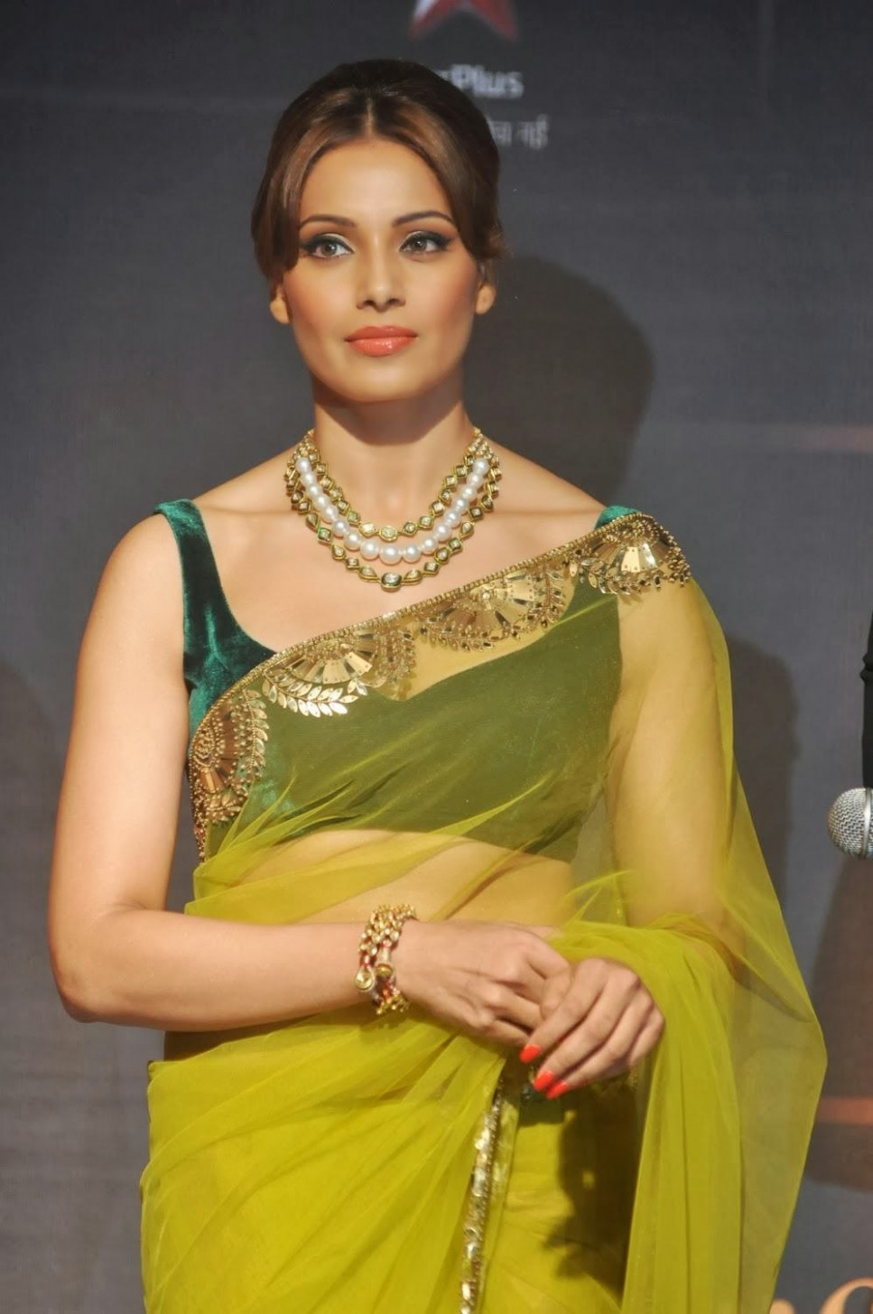 Bollywood Actress Bipasha Basu Transparent Saree Photos ..