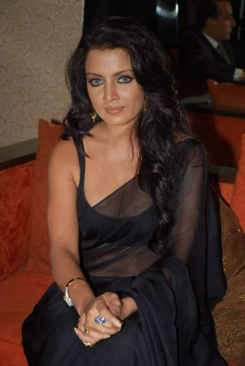 Bollywood Actress Celina Jaitley Black Transparent Saree ...