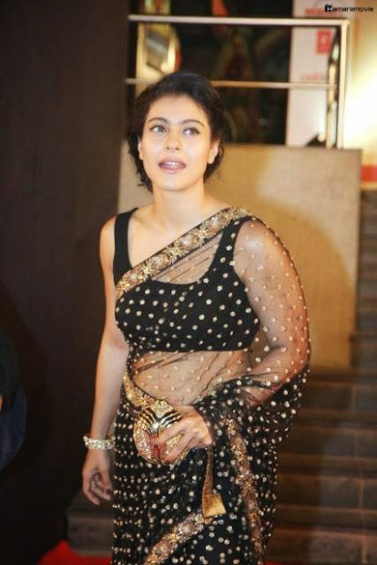Bollywood Actress Kajol Hot Navel in Black Transparent ...