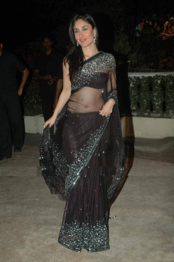 Bollywood Actress Kareena Kapoor Black Transparent Saree ..
