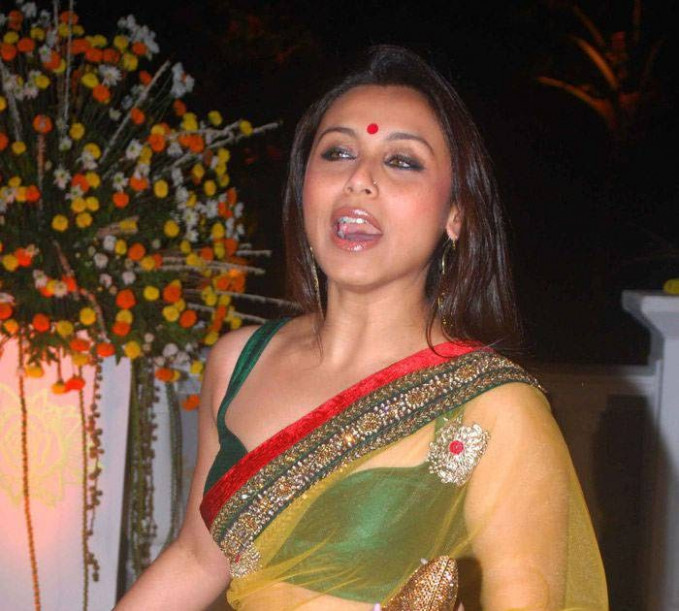 Bollywood Actress Rani Mukherjee in Yellow Transparent ...