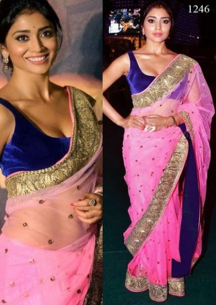 Bollywood Actress Shriya Saran Net Saree in Pink color ...
