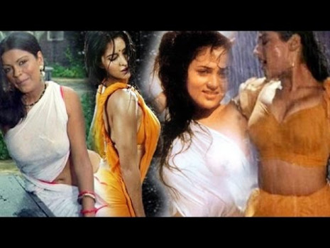 Bollywood Actresses HOT Rain Dance In Wet Transparent ...