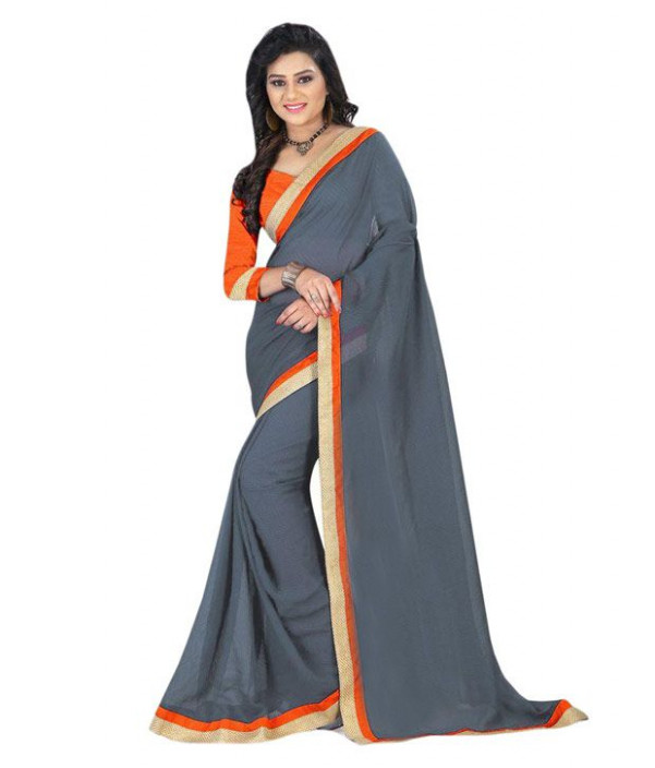 Bollywood Designer Grey Chiffon Saree - Buy Bollywood ...