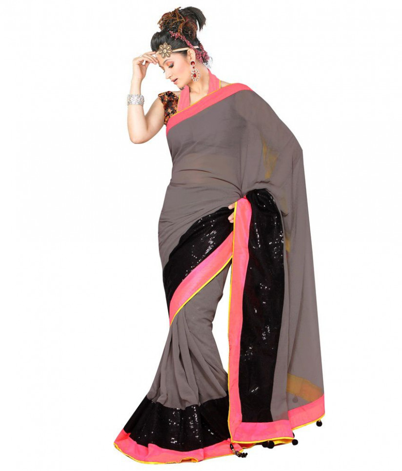Bollywood Fashion Zone Grey Georgette Saree - Buy ...