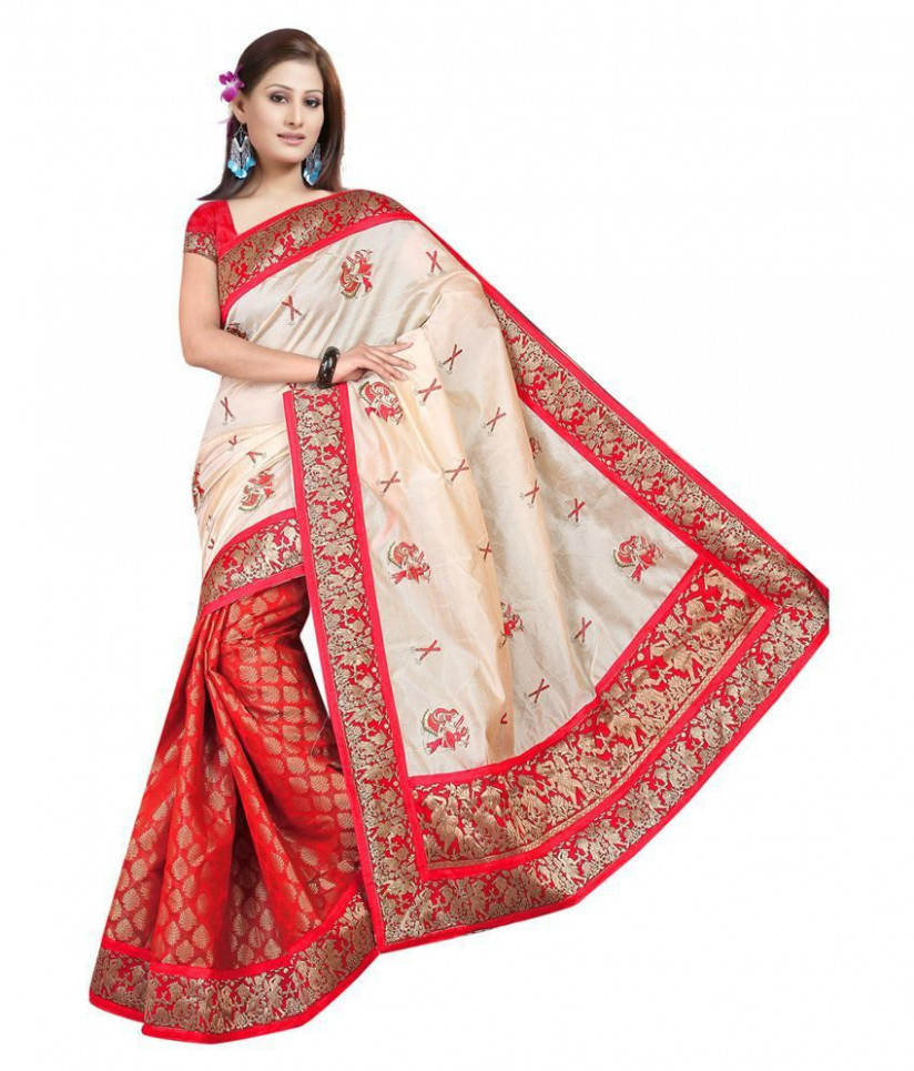 Bollywood Gallery Beige Art Silk Saree - Buy Bollywood ...