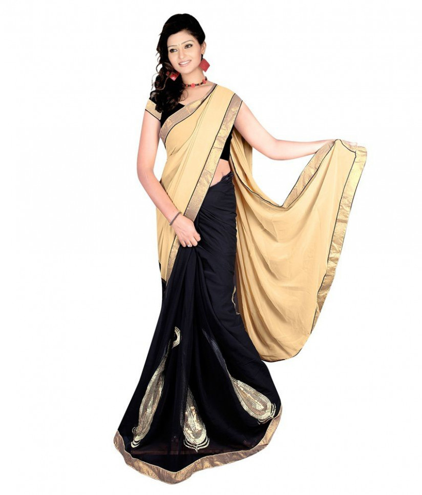 Bollywood Gallery Beige Faux Chiffon Saree - Buy Bollywood ...