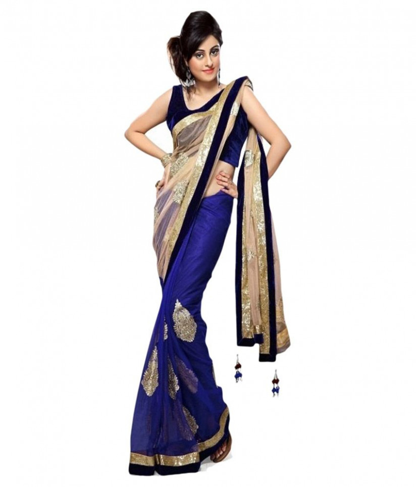 Bollywood Gallery Beige Net Saree - Buy Bollywood Gallery ...