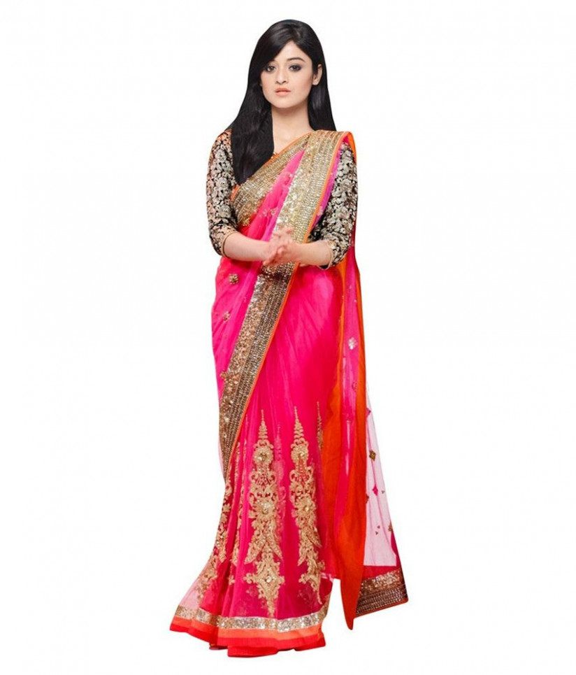 Bollywood Gallery Pink Net Saree - Buy Bollywood Gallery ...