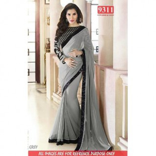 Bollywood Gray Saree with Black Border