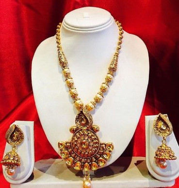 BOLLYWOOD INDIAN Bridal Necklace Earrings Jewellery Pearls ...