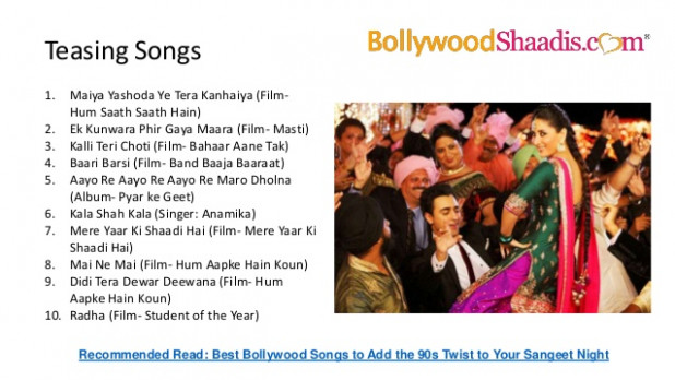 Bollywood songs for Wedding