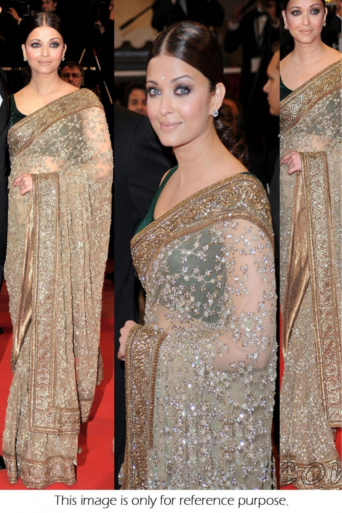Bollywood Style Aishwarya Rai Net Saree In Beige and Gold ...