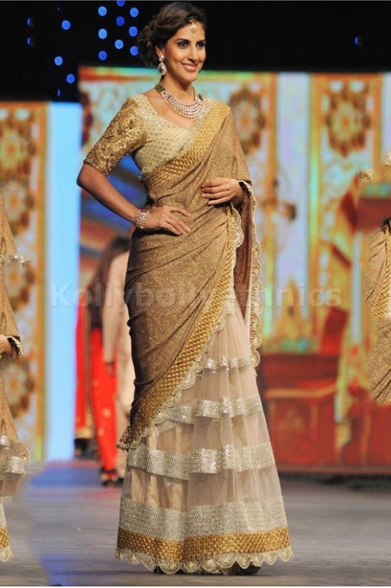 Bollywood Style Parizad Net and Bhagalpuri Saree in Beige ...