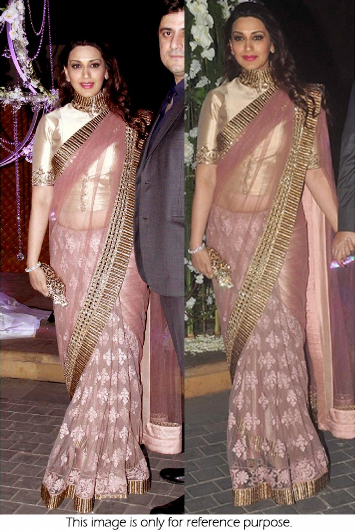 Bollywood Style Sonali Bendre Net saree in Pink colour ...