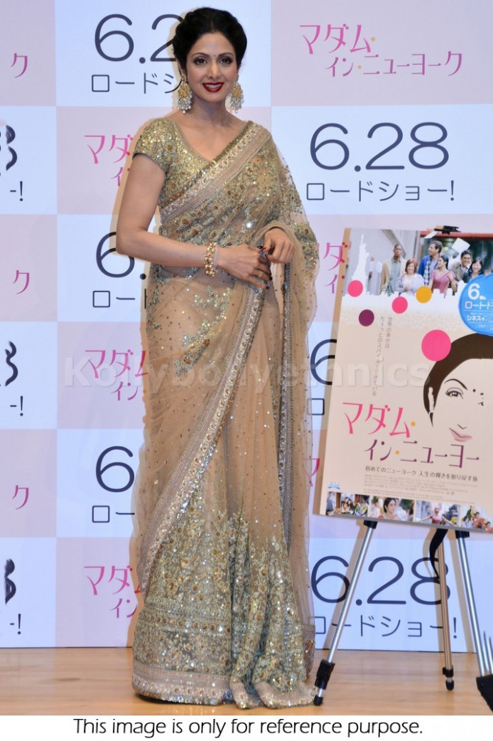 Bollywood Style Sridevi Net Saree in Beige and Gold color