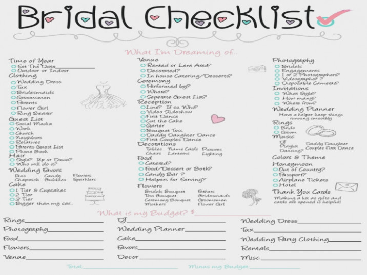 Bridal Checklist - MALMROSE BRIDAL | Wedding Day Checklist ...