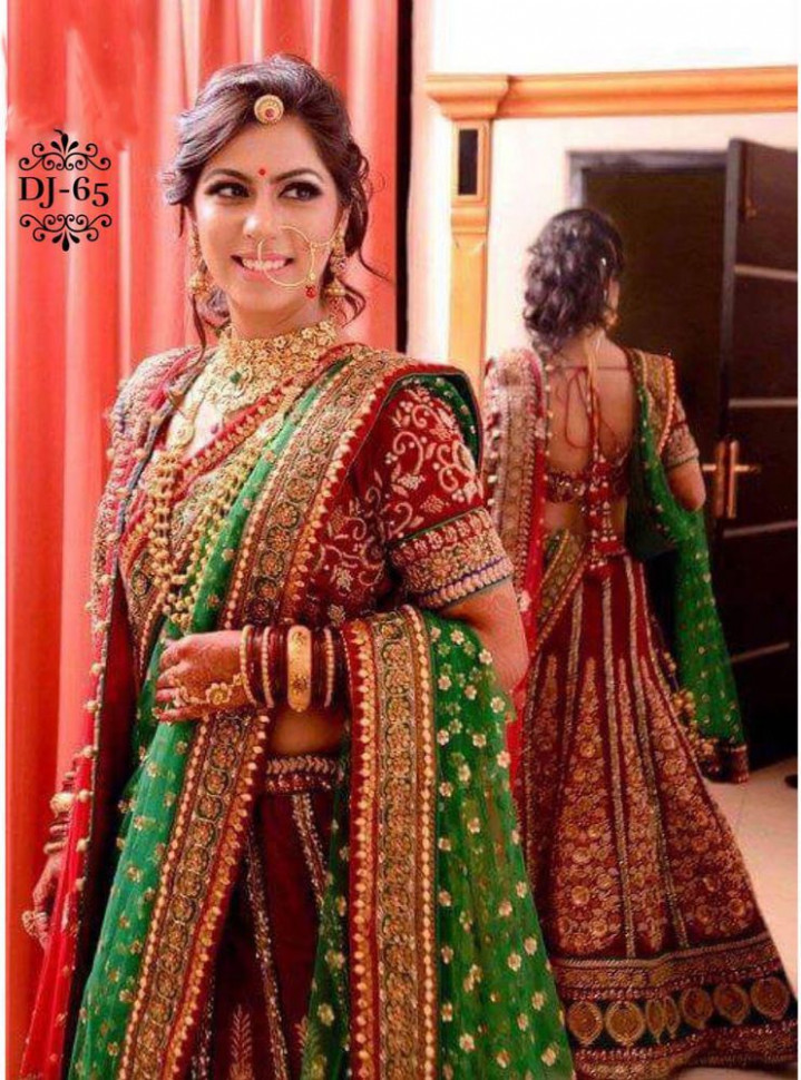 Bridal Lehengas In Red And Green | www.pixshark.com ...