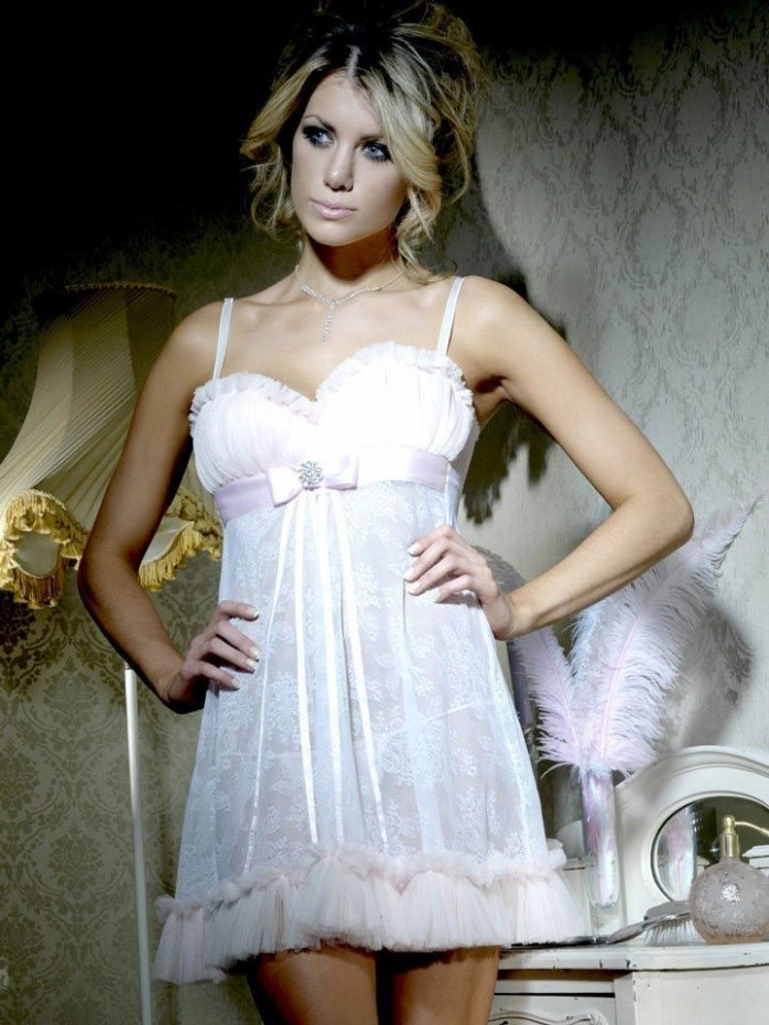 BRIDAL LINGERIE - SEXY NEW WHITE LACE BABY DOLL NIGHTDRESS ...