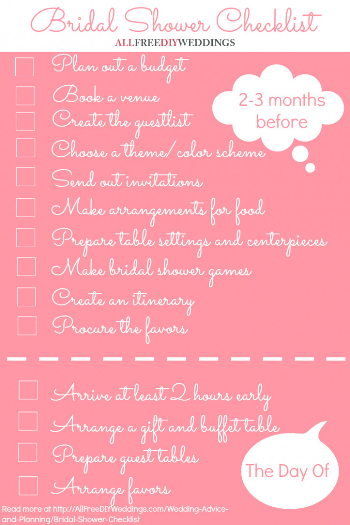 Bridal Shower Checklist | AllFreeDIYWeddings.com