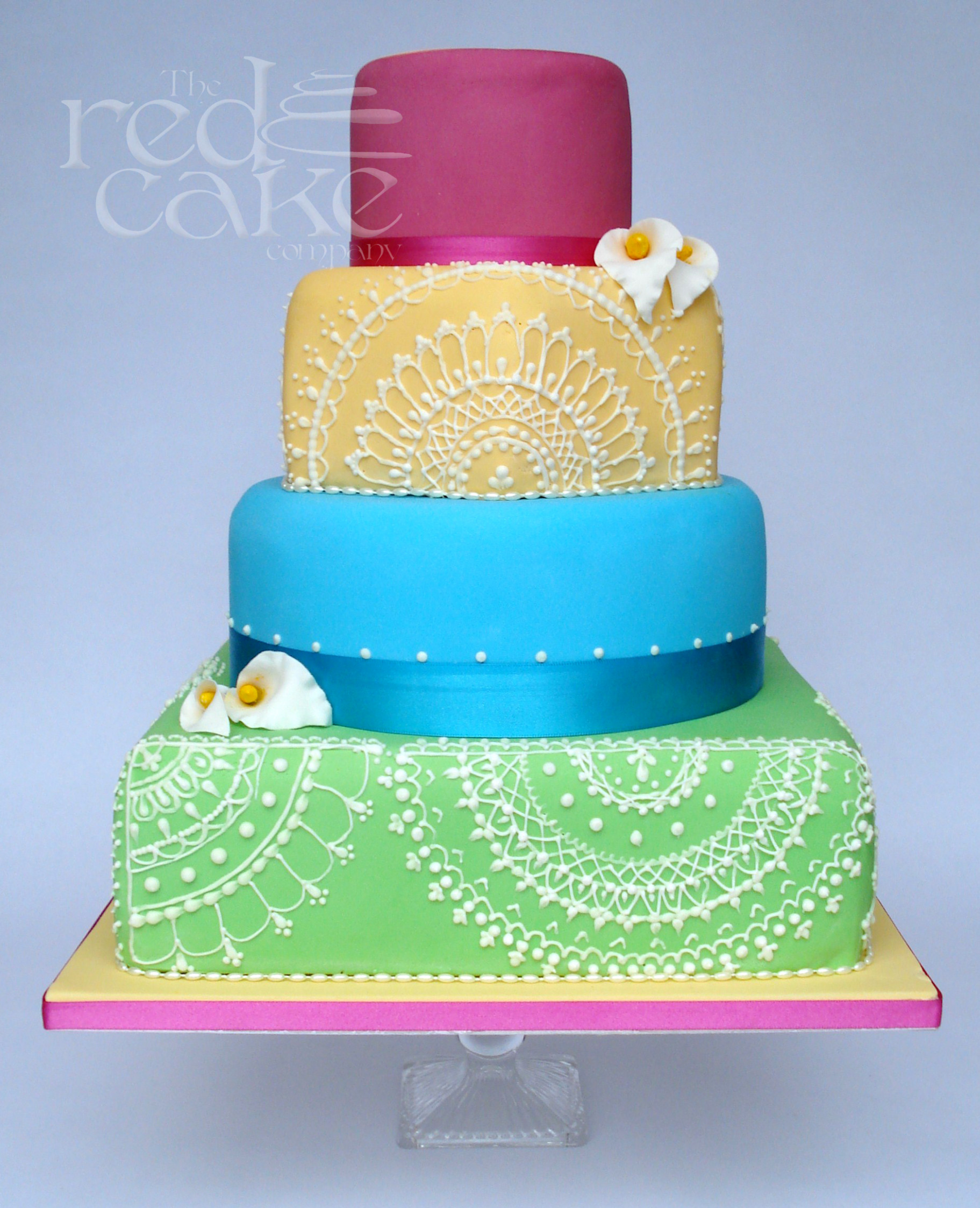 Bright Bollywood Theme Wedding Cake