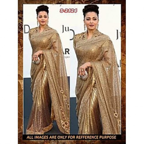 Buy Aishwarya Stunning Golden Saree - Online Shopping For ...