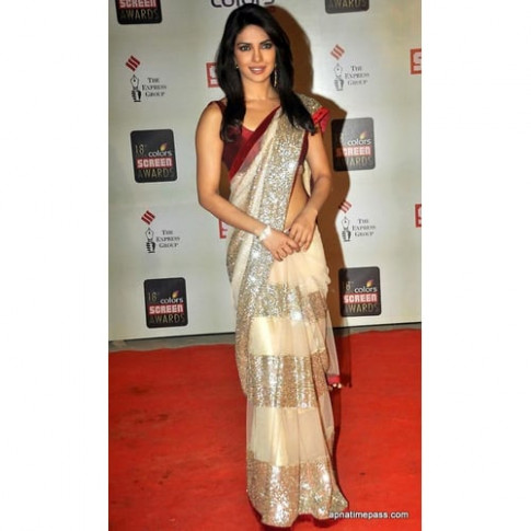 Buy Bollywood Priyanka Chopra Golden Saree Online ...