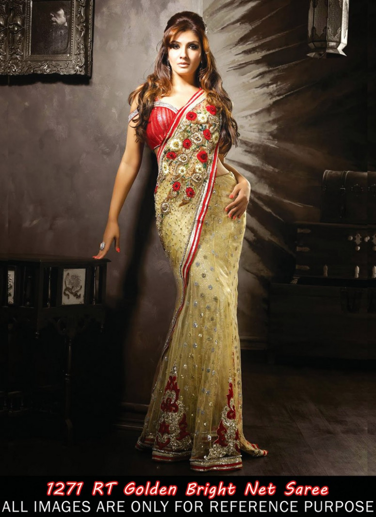 Buy Raveena Tondon Style Golden Color Net Bollywood Saree ...