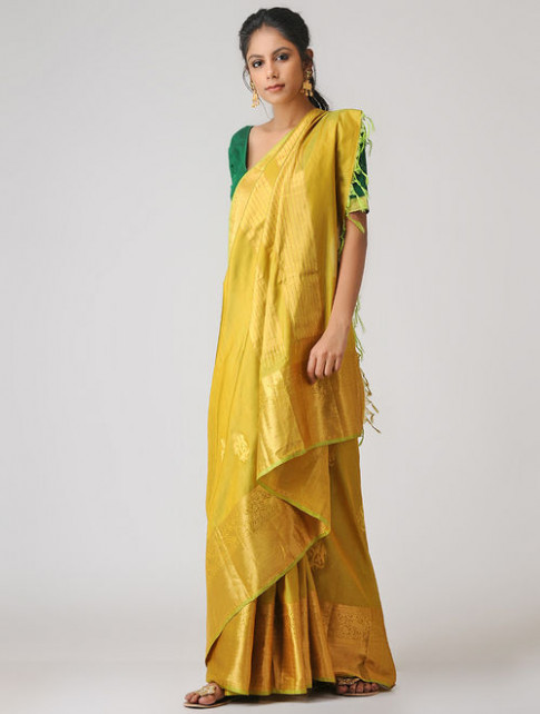 Buy Yellow Kanjivaram Silk Saree Online at Jaypore.com
