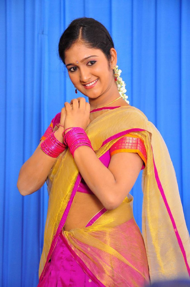 Chiry New Tollywood Actress Cute In Half Saree Stills ..