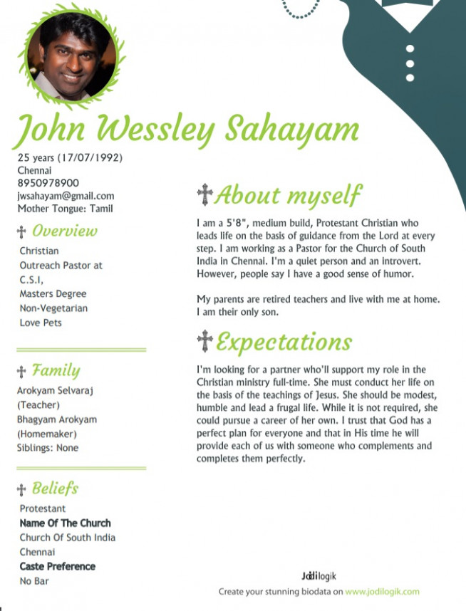 Christian Marriage Biodata Format Samples For Download