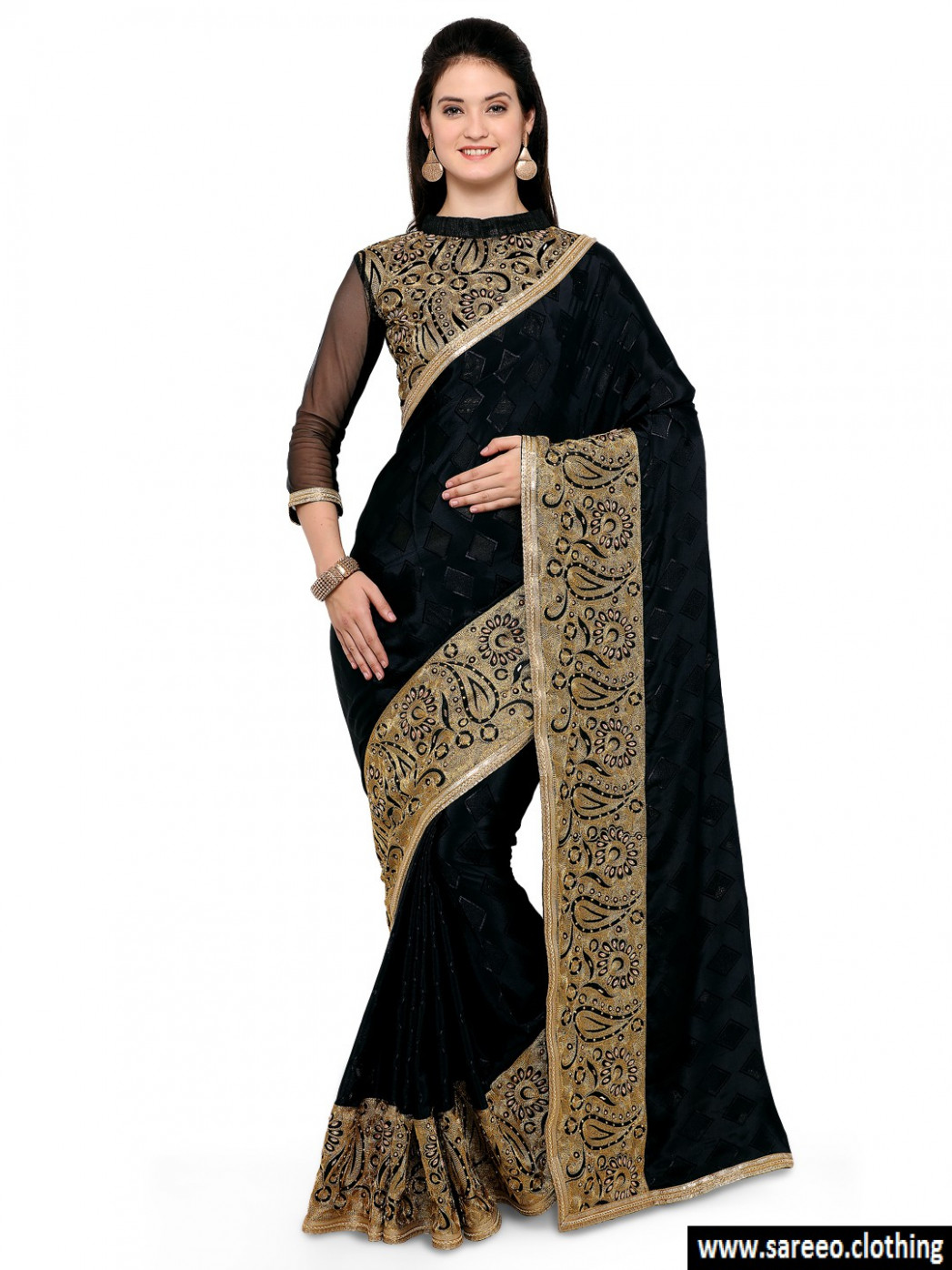 Decent Black And Golden Colored Bollywood Designer Party ...