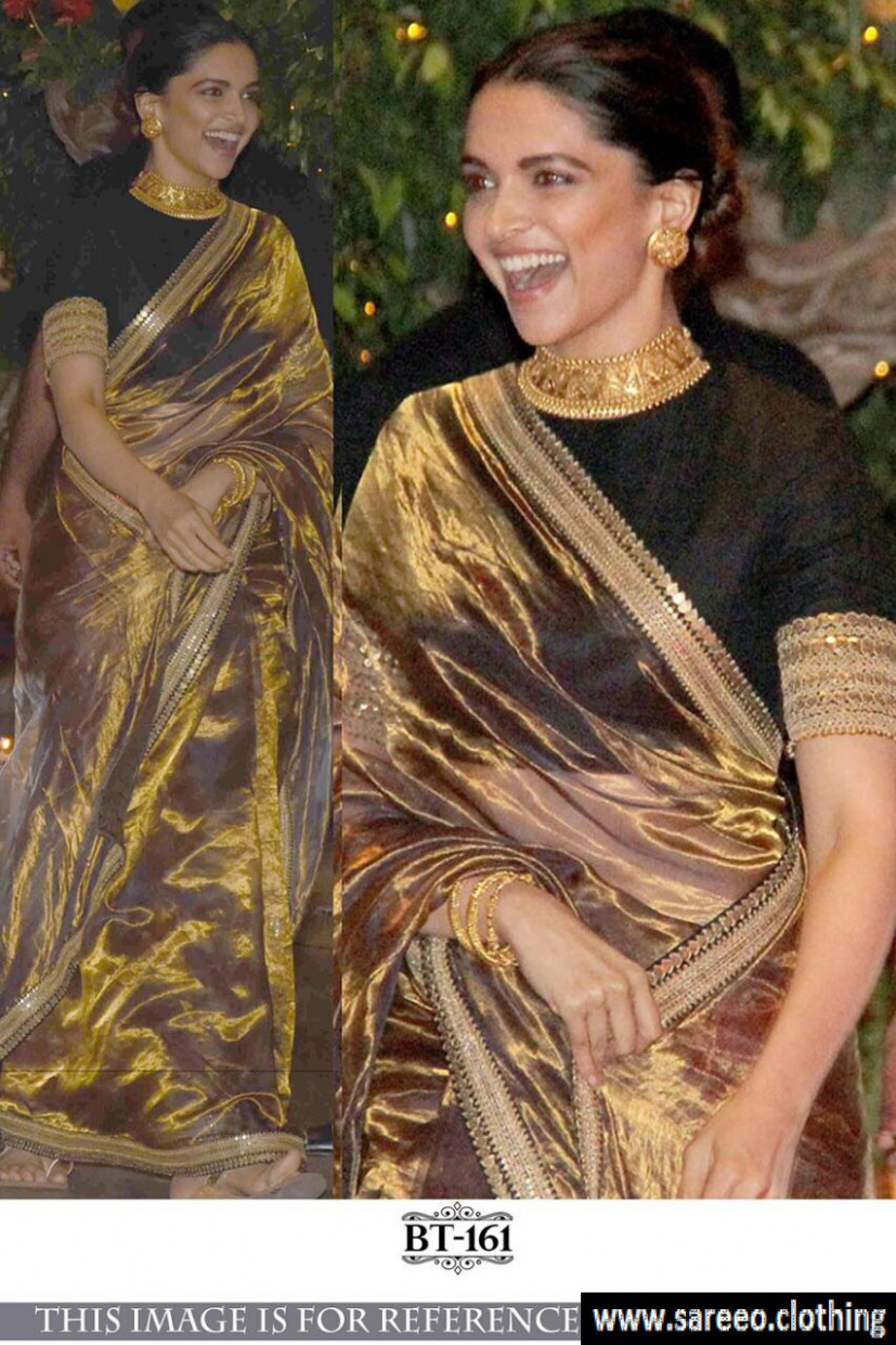 Deepika Golden Bollywood Tishiyu Silk Saree With Blouse