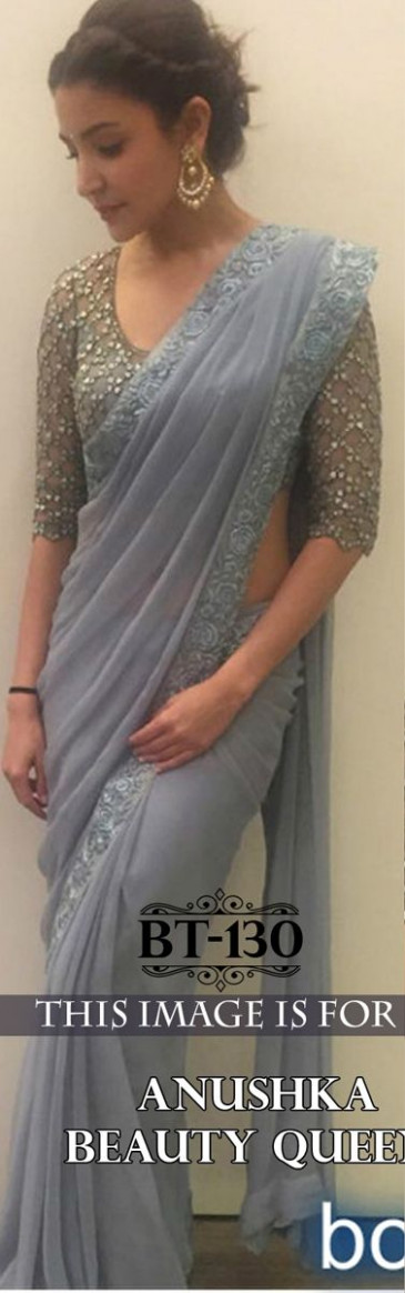Designer Bollywood Anushka Grey Saree By Hir Fashion ...