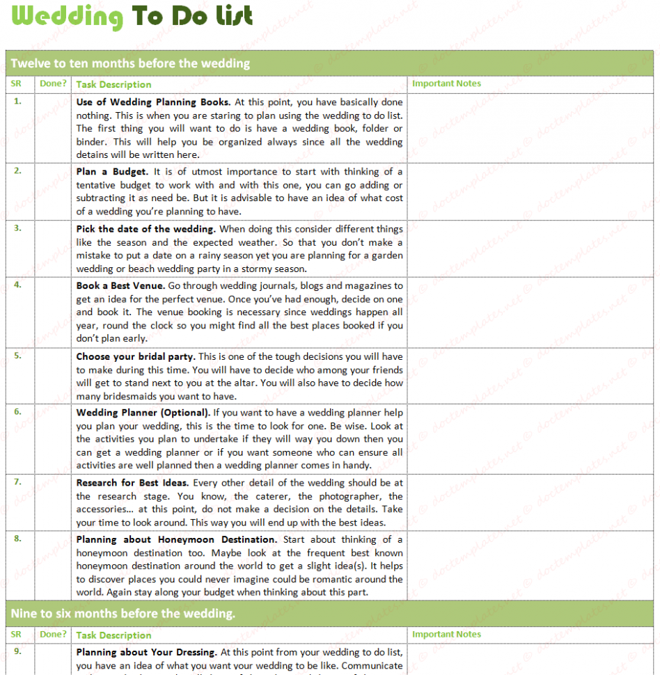 Document Templates: BEST WEDDING TO DO LIST (WITH ...
