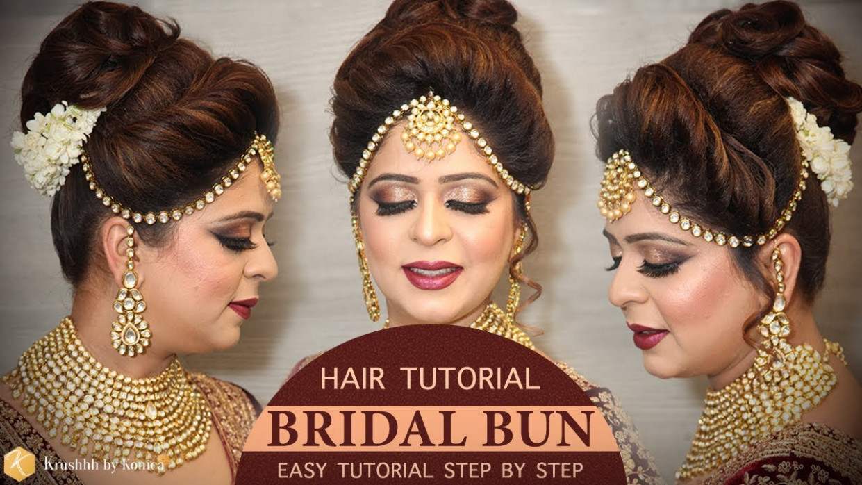Easy Bridal BUN Hairstyle Tutorial | Step by Step Bridal ...
