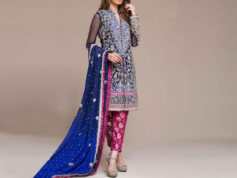 Embroidered Blue Chiffon Bridal Dress Price in Pakistan ...