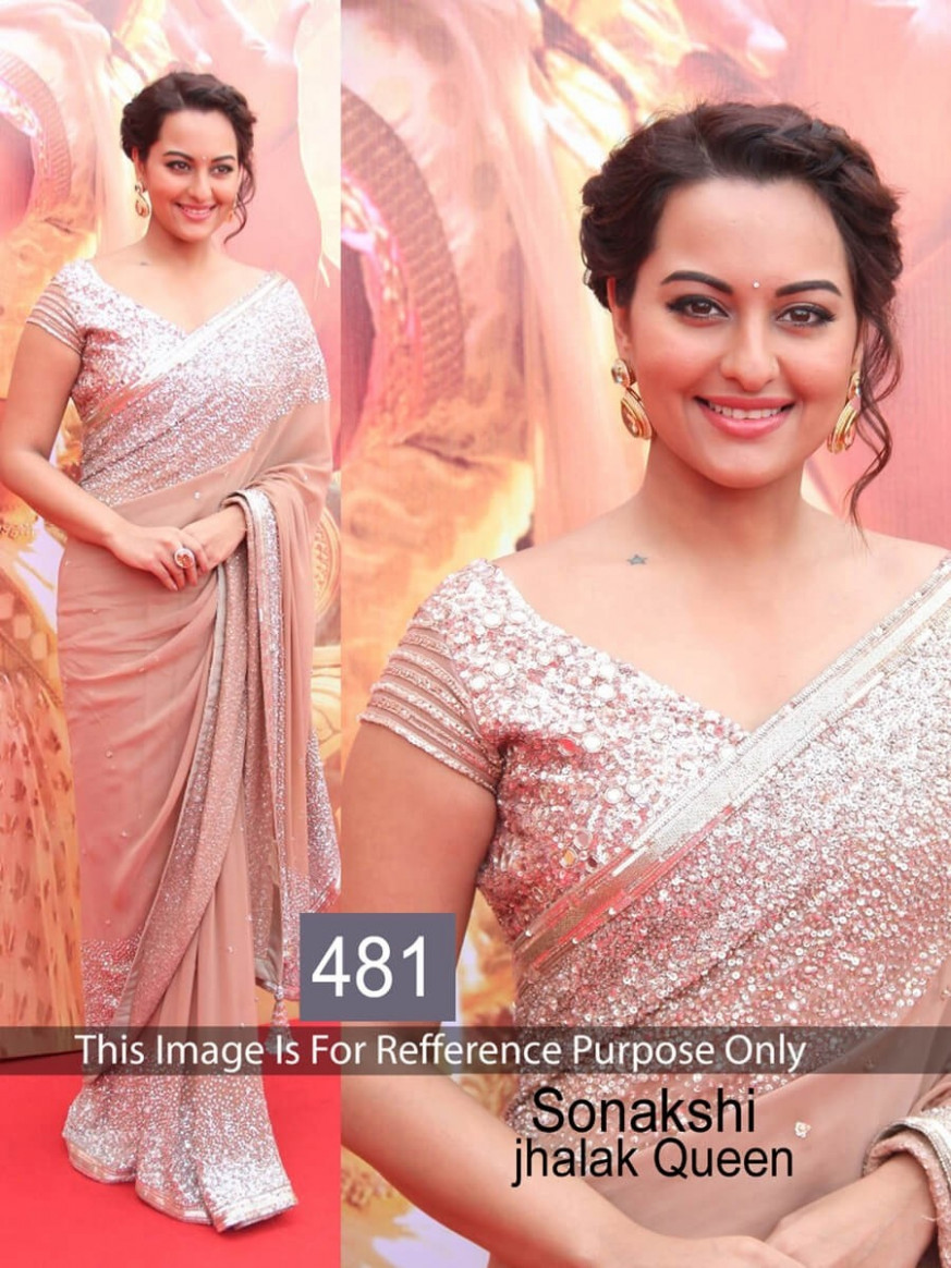 Exclusive Sonakshi Sinha Peach Color Saree | 507444