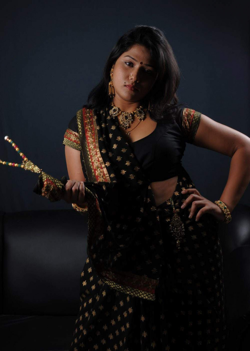 Gallery Funda: Tollywood Actress Jyothi Hot in Black Saree ...