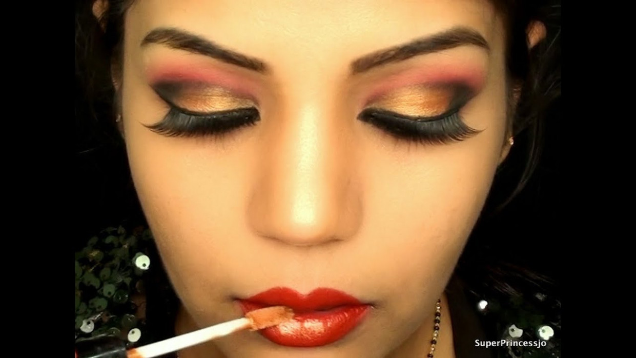Glamorous Red & Gold Makeup: Bollywood/Bridal Makeup ...