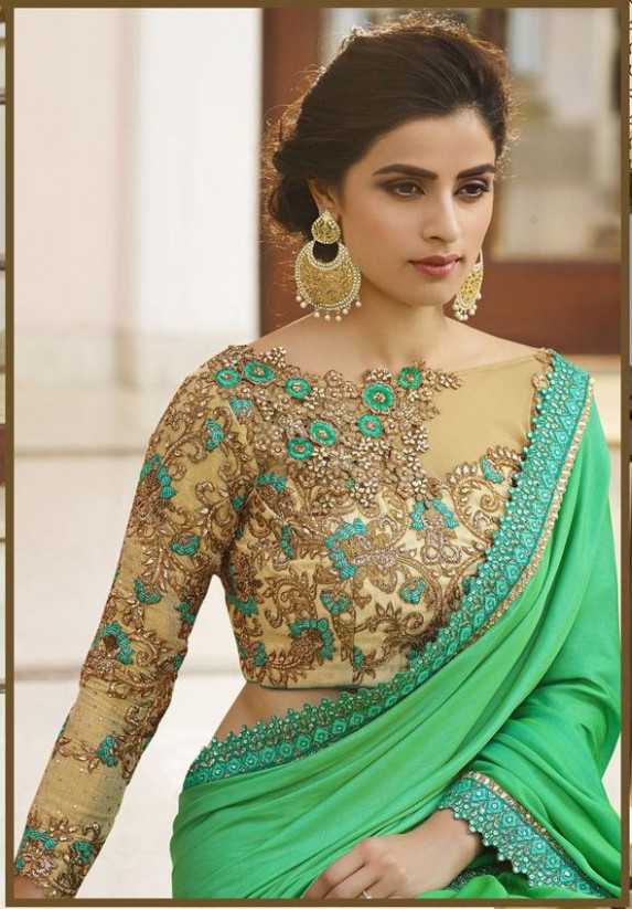 Green Designer Saree in 2018 | Designer blouse | Pinterest ...