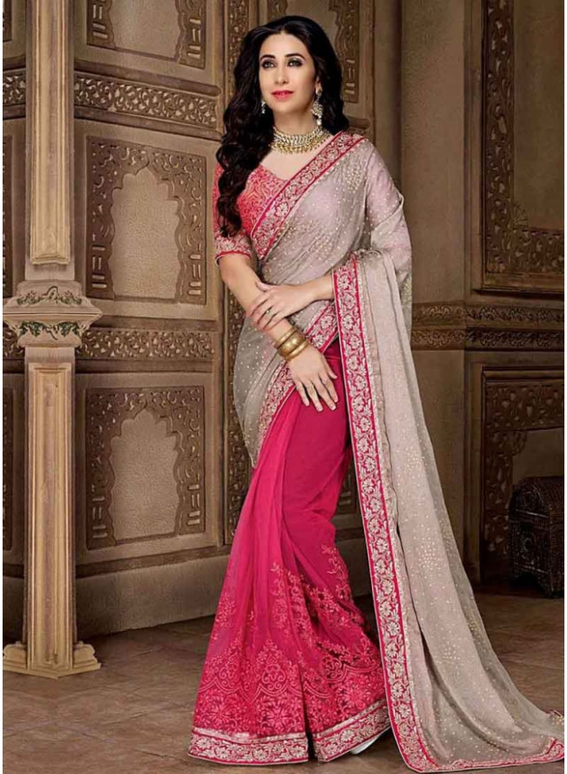 Grey Pink Embroidery Work Georgette Designer Wedding Fancy ...