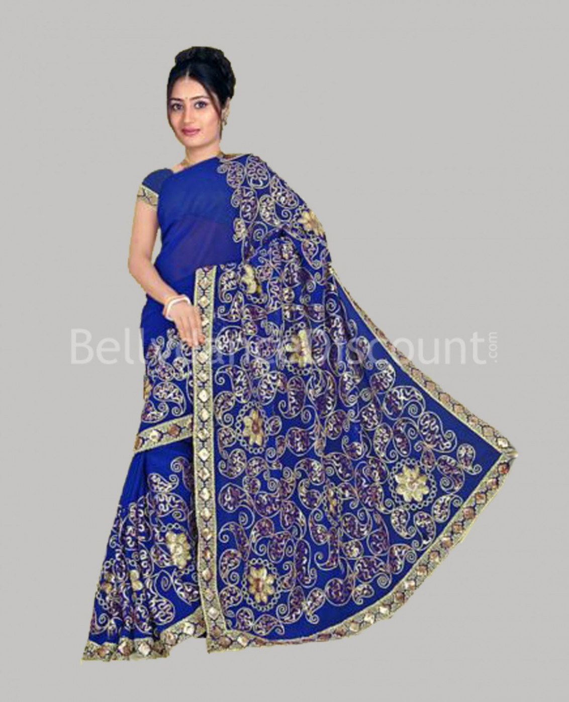 Haute-couture Bollywood dance Saree dark blue ...