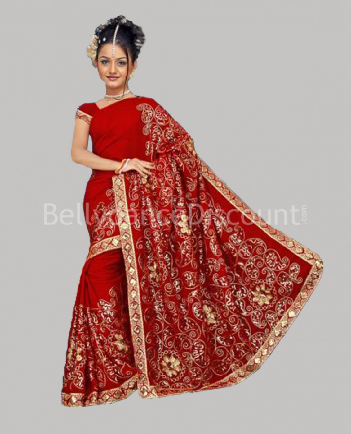 Haute-couture Bollywood dance Saree red ...