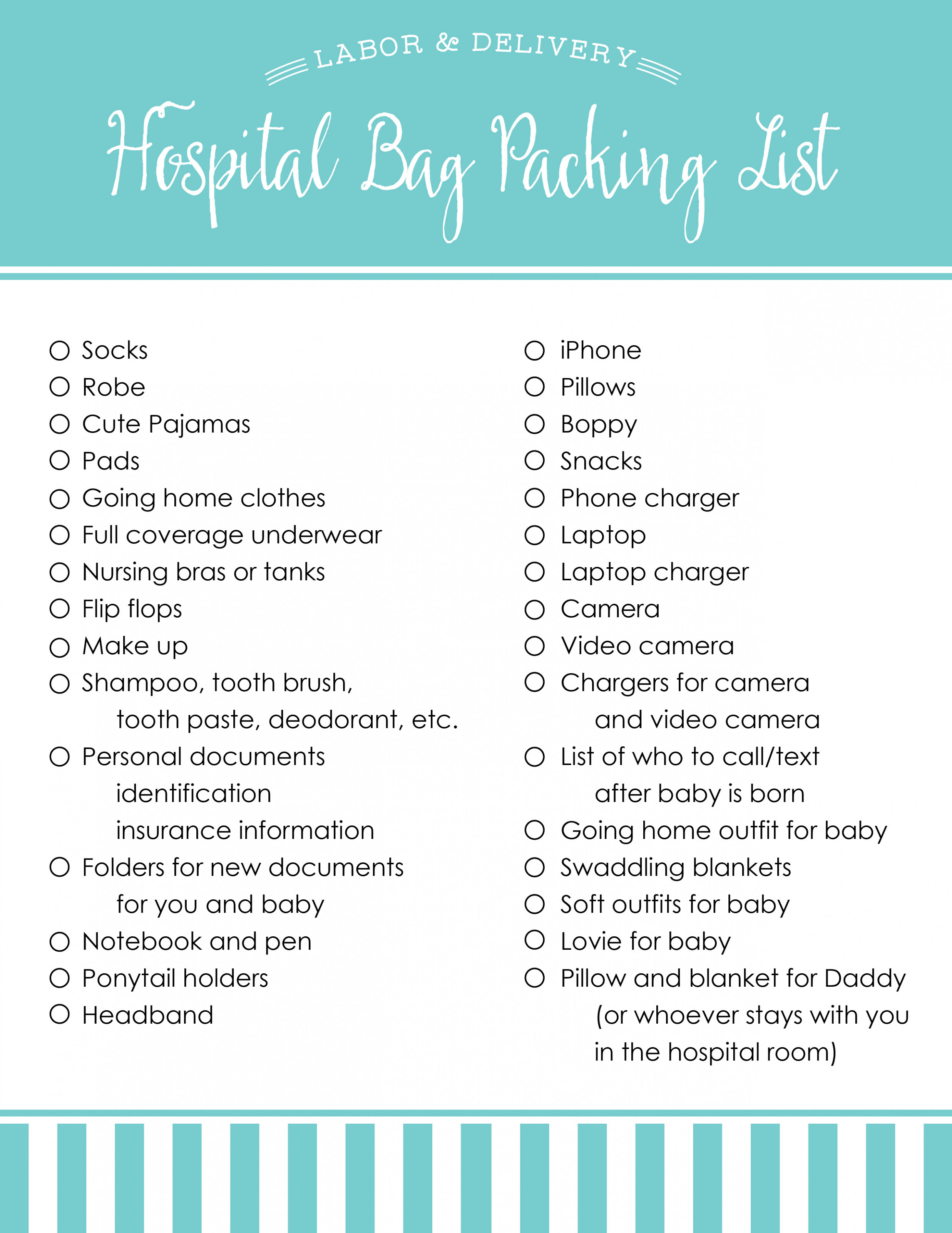 Hospital Bag Packing List for Mom & Baby | Blue-Eyed Bride ...