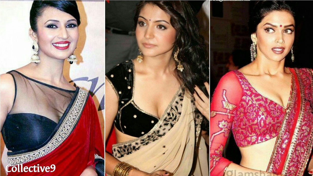 Hot Designer Low Neck Saree Blouse Designs | Bollywood ...